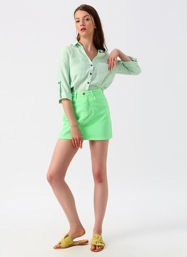 Quzu Quzu Açık Mint Truvakar Kollu Gömlek Yeşil